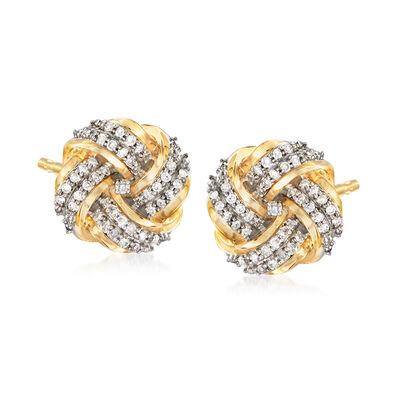.25 ct. t.w. Diamond Love Knot Earrings in 14kt Yellow Gold