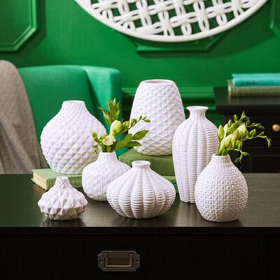 """""""Artisan Carvings"""" Set of Seven White Ceramic Vases , , default"""