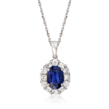 """1.50 Carat Sapphire and .65 ct. t.w. Diamond Pendant Necklace in 14kt White Gold. 16"""", , default"""