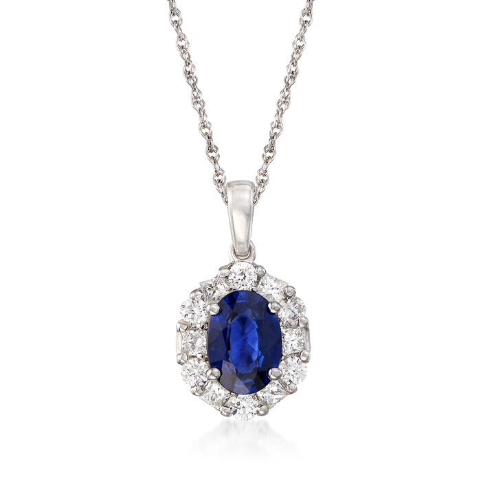 "1.50 Carat Sapphire and .65 ct. t.w. Diamond Pendant Necklace in 14kt White Gold. 16"", , default"