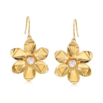 5.5-6mm Cultured Pearl and 18kt Yellow Gold Over Sterling Flower Drop Earrings, , default