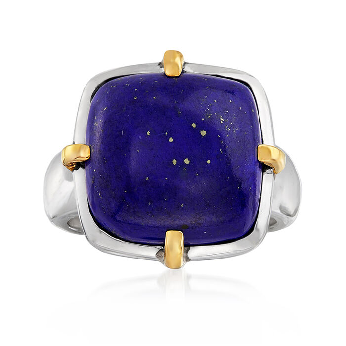 Lapis Ring in Sterling Silver and 14kt Yellow Gold