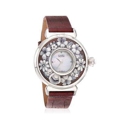 Italian Cameo Italiano Women's Floral and Mother-Of-Pearl Watch