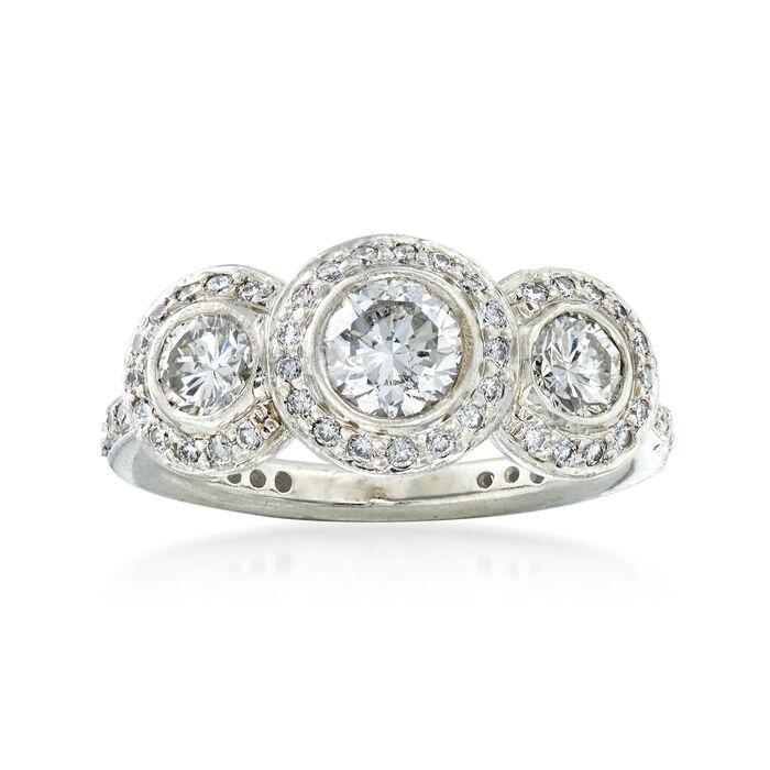 C. 2000 Vintage Ritani 1.30 ct. t.w. Diamond Ring in Platinum. Size 4.5, , default