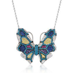 "1.00 ct. t.w. Multicolored CZ and Multi-Stone Butterfly Necklace in Sterling Silver. 18"", , default"