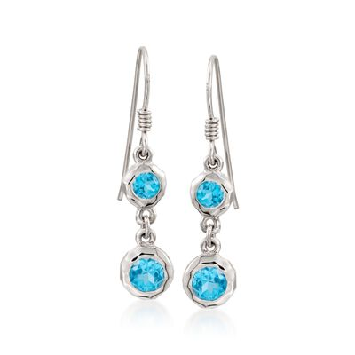 "Zina Sterling Silver ""Ripples"" 1.80 ct. t.w. Blue Topaz Drop Earrings, , default"