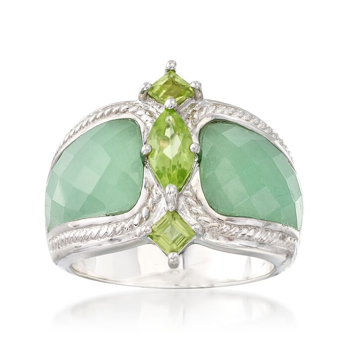Green Jadeite Jade and .80 ct. t.w. Peridot Ring in Sterling Silver, , default