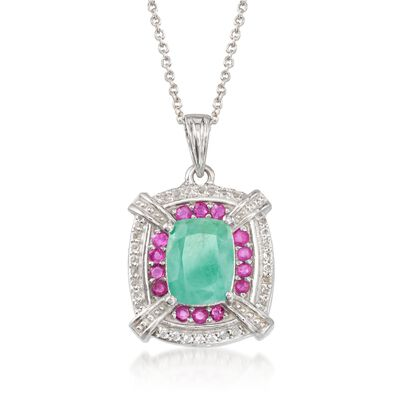1.70 Carat Emerald and .20 ct. t.w. Ruby Pendant Necklace with .10 ct. t.w. White Topaz in Sterling Silver