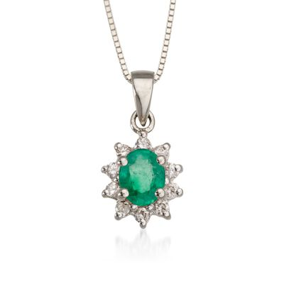 .10 ct. t.w. Diamond and .35 Carat t.w. Emerald Pendant Necklace in 14kt White Gold