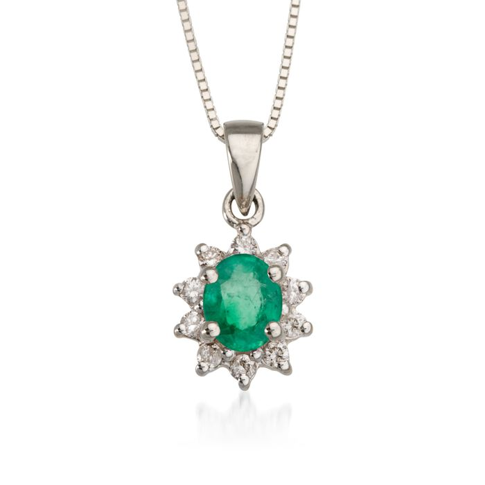 """.10 ct. t.w. Diamond and .35 Carat t.w. Emerald Pendant Necklace in 14kt White Gold. 18"""", , default"""