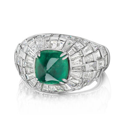 5.40 ct. t.w. Diamond and 3.00 Carat Emerald Ring in 18kt White Gold
