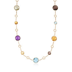 20.00 ct. t.w. Multi-Stone Station Necklace in 14kt Yellow Gold, , default