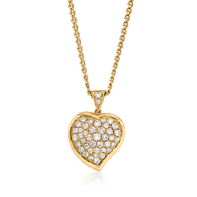 C. 1980 Vintage 5.00 ct. t.w. Diamond Heart Pendant Necklace in 18kt Yellow Gold