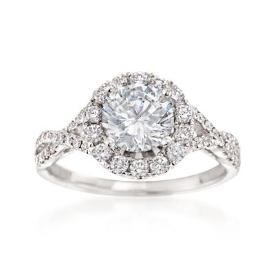 .54 ct. t.w. Diamond Woven Engagement Ring Setting in 14kt White Gold