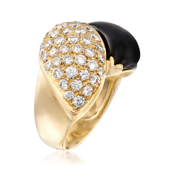 C. 1980 Vintage 1.45 ct. t.w. Diamond and Black Onyx Ring in 18kt Yellow Gold. Size 6.5, , default