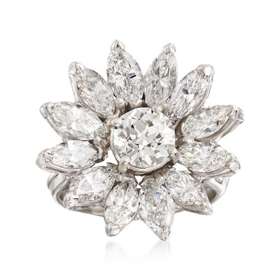 C. 1970 Vintage 4.00 ct. t.w. Diamond Flower Ring in Platinum, , default