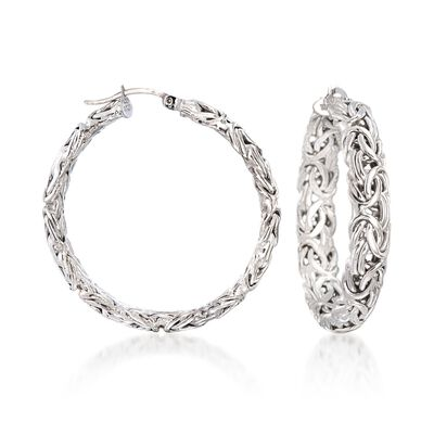 Sterling Silver Large Byzantine Hoop Earrings, , default