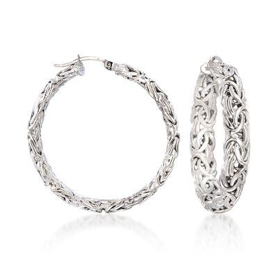 Sterling Silver Large Byzantine Hoop Earrings