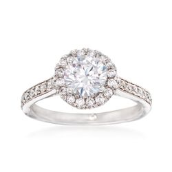 Gabriel Designs .47 ct. t.w. Diamond Halo Engagement Ring Setting in 14kt White Gold, , default