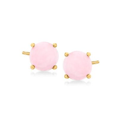 Pink Opal Stud Earrings in 18kt Gold Over Sterling