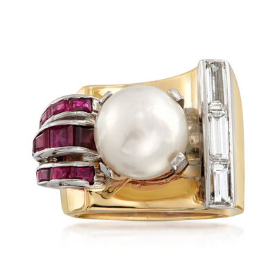 C. 1960 Vintage 9.4mm Cultured Pearl, .65 ct. t.w. Diamond and .50 ct. t.w. Ruby Ring in 14kt Yellow Gold, , default
