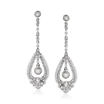 1.50 ct. t.w. Diamond Open-Space Drop Earrings in 14kt White Gold