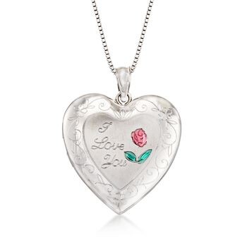 "Sterling Silver Mom & Me Jewelry Set: Two ""I Love You"" Heart Necklaces. 14""-18"", , default"
