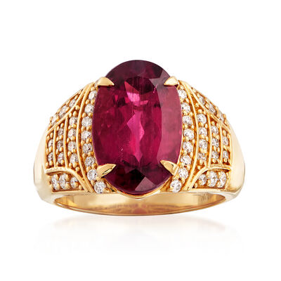5.75 Carat Tourmaline and .50 ct. t.w. Diamond Dome Ring in 18kt Yellow Gold, , default