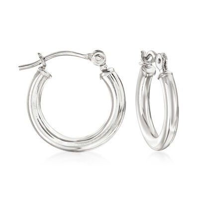 1.5mm 14kt White Gold Small Hoop Earrings, , default