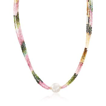 "13.5-14.5mm Cultured Pearl and 55.00 ct. t.w. Multicolored Tourmaline Bead Necklace With 14kt Gold. 18"", , default"