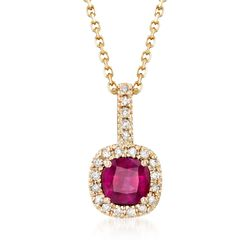 ".60 Carat Ruby and .10 ct. t.w. Diamond Pendant Necklace in 14kt Yellow Gold. 16"", , default"