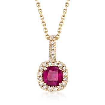 """.60 Carat Ruby and .10 ct. t.w. Diamond Pendant Necklace in 14kt Yellow Gold. 16"""", , default"""