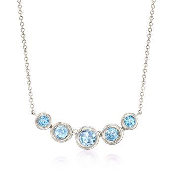 "2.80 ct. t.w. Bezel-Set Blue Topaz Necklace in Sterling Silver. 16"", , default"