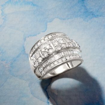 2.00 ct. t.w. Round and Baguette Diamond Multi-Row Ring in Sterling Silver