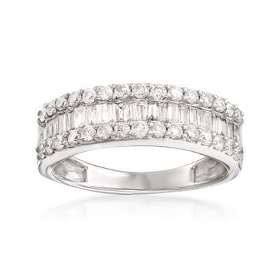 1.00 ct. t.w. Baguette and Round Diamond Three-Row Ring in 14kt White Gold, , default