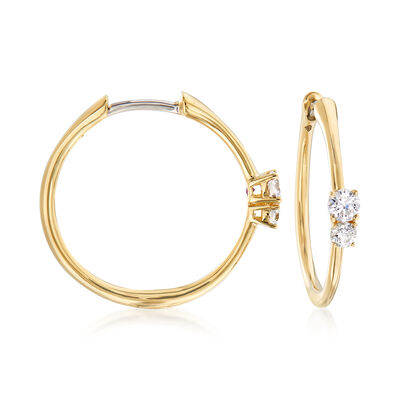 Roberto Coin .35 ct. t.w. Diamond Hoop Earrings in 18kt Yellow Gold, , default