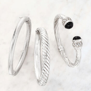 Italian Sterling Silver Twisted Cuff Bracelet with Black Onyx and White Zircon, , default