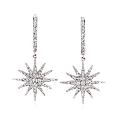 .76 ct. t.w. CZ Star Drop Earrings in Sterling Silver, , default
