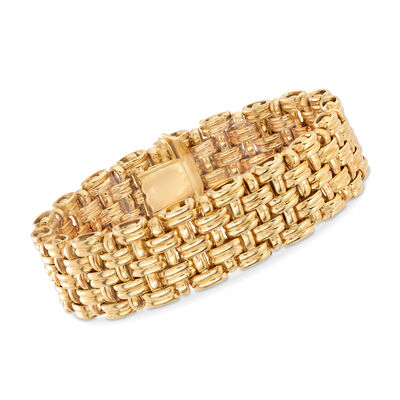 Italian 14kt Yellow Gold Basketweave Bracelet