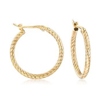 "14kt Yellow Gold Petite Twisted Hoop Earrings. 5/8"", , default"