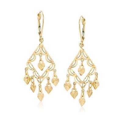 14kt Yellow Gold Filigree Chandelier Earrings, , default