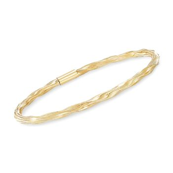 Italian Twisted Flex Bangle Bracelet With 14kt Yellow Gold, , default