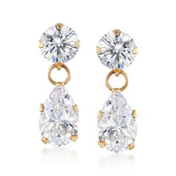 2.50 ct. t.w. CZ Pear-Shaped Double Drop Earrings in 14kt Yellow Gold , , default