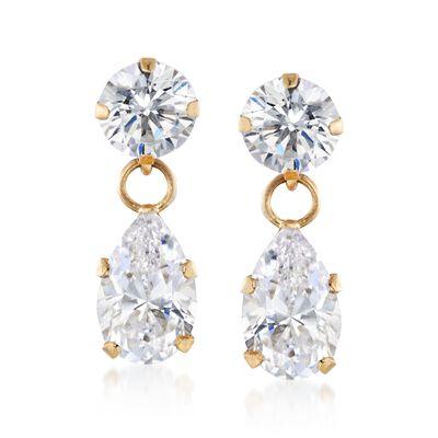 2.50 ct. t.w. CZ Pear-Shaped Double Drop Earrings in 14kt Yellow Gold, , default