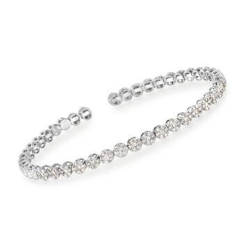 "Simon G. 1.40 ct. t.w. Diamond Flex Cuff Bracelet in 18kt White Gold. 7"", , default"