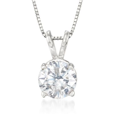 1.00 Carat Diamond Solitaire Necklace in 14kt White Gold, , default