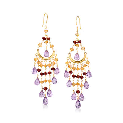 18.00 ct. t.w. Amethyst and 5.50 ct. t.w. Citrine with 3.20 ct. t.w. Garnet Chandelier Earrings in 14kt Yellow Gold, , default