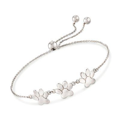 Sterling Silver Paw Print Bolo Bracelet, , default