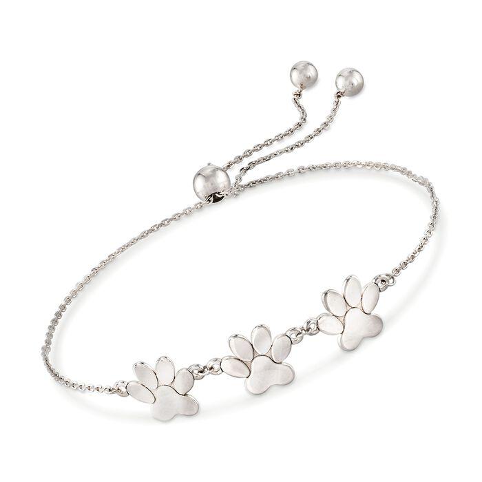 Sterling Silver Paw Print Bolo Bracelet , , default