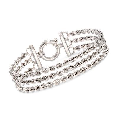 Italian Sterling Silver Three-Strand Rope Chain Bracelet, , default